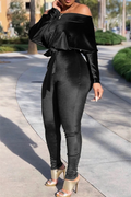 PANSYGAL Bat Sleeve Sloping Shoulder Jumpsuit