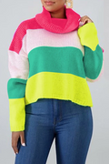 PansyGal Collision Color High Collar Sweater