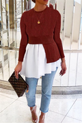 PansyGal Color Splicing Pleated Sweater Top