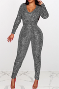 PansyGal Sequin Splicing Jumpsuit With Belt