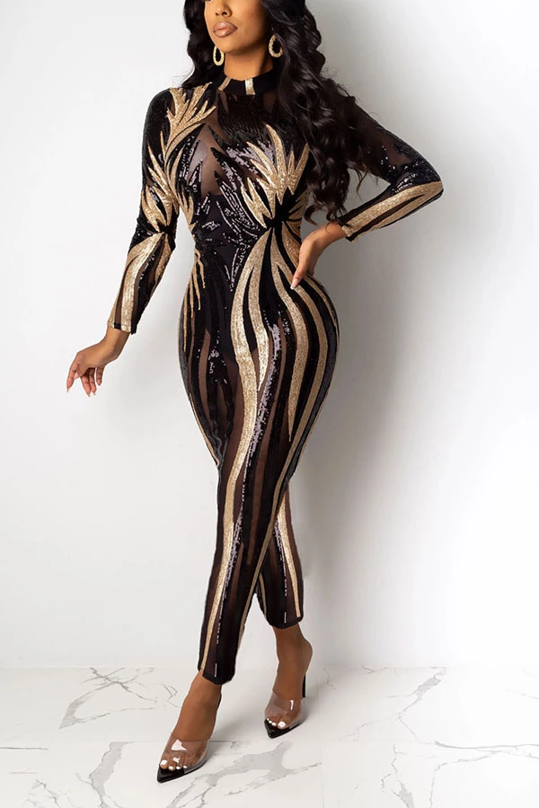 PansyGal Hot Drilling See-Through Club Jumpsuit