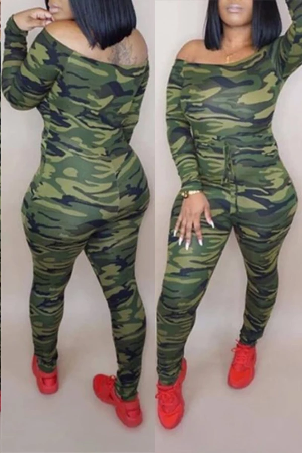 PansyGal Camouflage Printed One-piece Jumpsuit