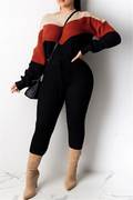 PansyGal Casual Color Splicing Sweater Sets