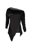 PansyGal Casual Irregular Zipper Black Hoodies