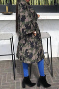 PansyGal Casual Camouflage Printed Grey Coat