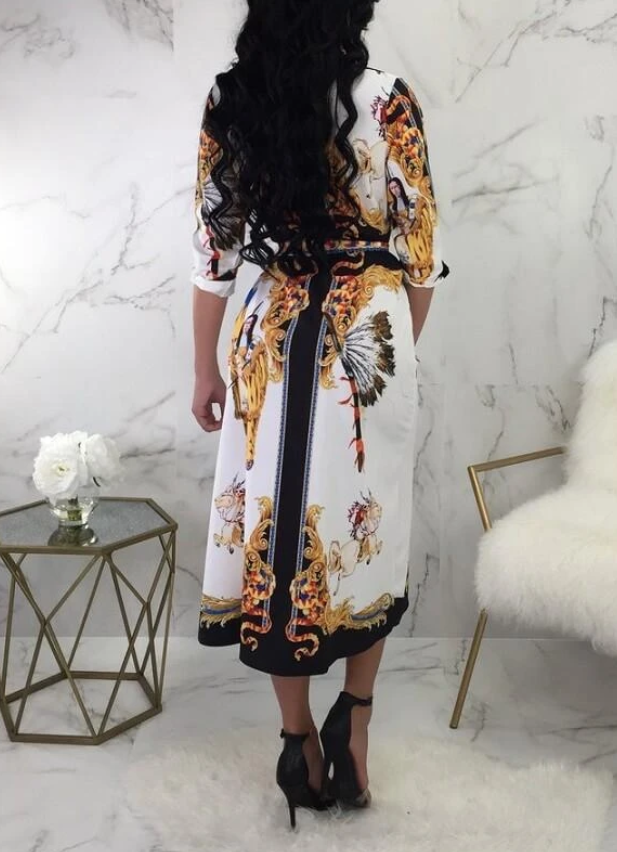 PansyGal Tribal Printed Belted Shirt Dress