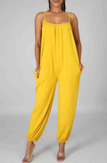 PansyGal Solid Color Spaghetti Strap Leisurewear Jumpsuit