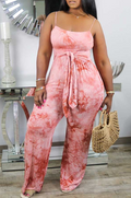 PansyGal Tie Dye Spaghetti Strap Lace-Up Jumpsuit