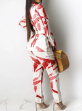 PansyGal 5 color Print Women Jacket and Pants Set