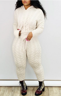 PansyGal Solid Color Hooded Collar Knitted Two Piece Sets