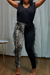 PansyGalFeather Splicing Leopard Printed Pants