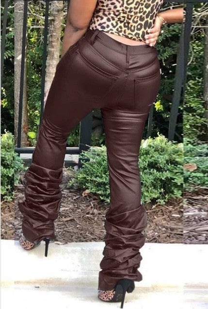 PansyGal PU Solid Middle Waist Stacked Pants