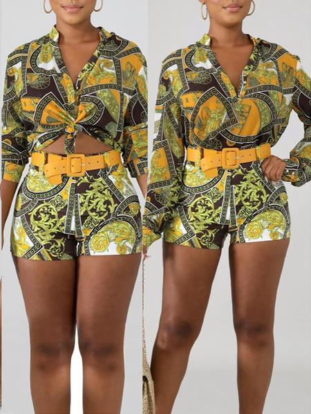 PansyGal Turndown Collar Print Top & Shorts With Belt