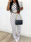 PansyGal Dot Tied Top & Ruched Pants Set