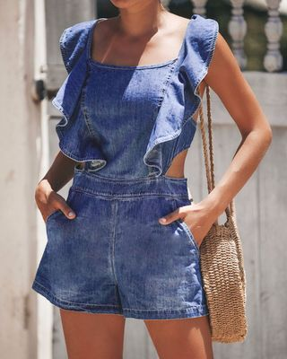 PansyGal Sexy Ruffle Design Backless Denim One-piece Romper