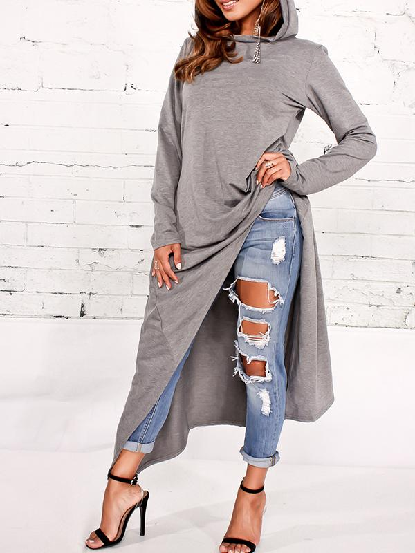 PansyGal Leisure Round Neck Grey Pullovers