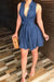 PansyGalCasual Lace-up Drape Design Denim Mini A Line Dress