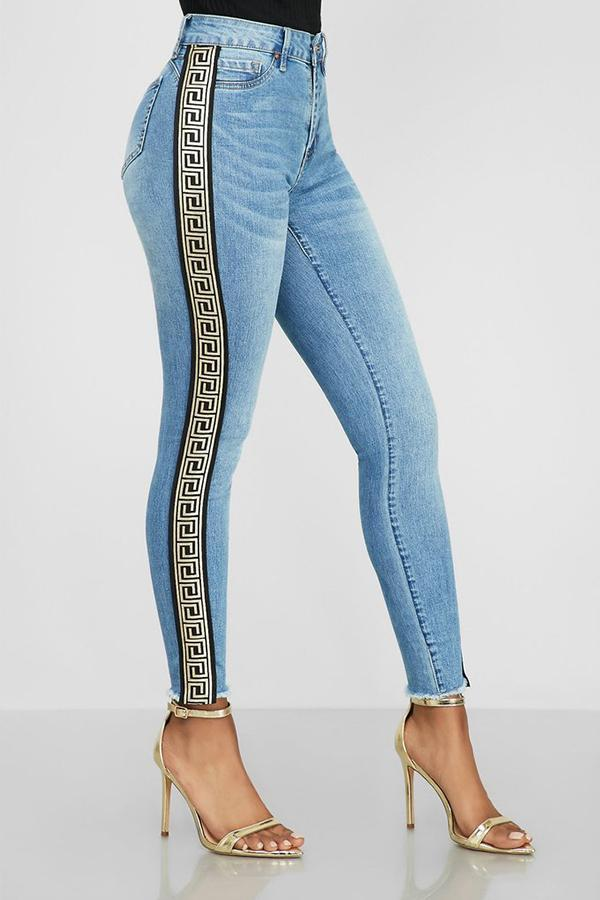 PansyGal Casual High Waist Patchwork Jeans