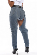 PansyGal Hole Distressed Hollow Out Jeans Without Belt