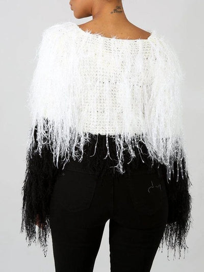 PansyGal Fuzzy Cropped Sweater