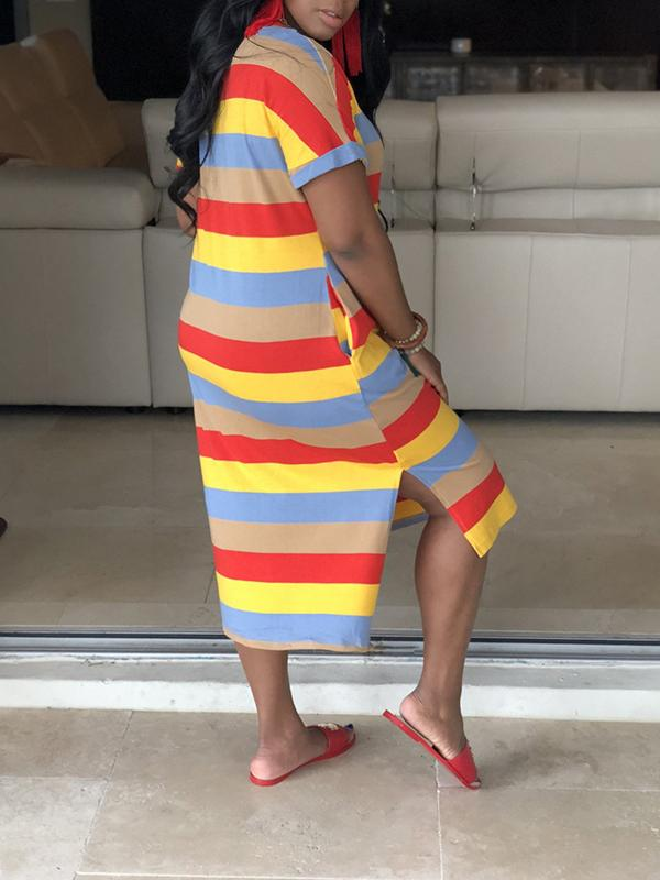 PansyGal V-Neck Side Slit Rainbow Striped Dress