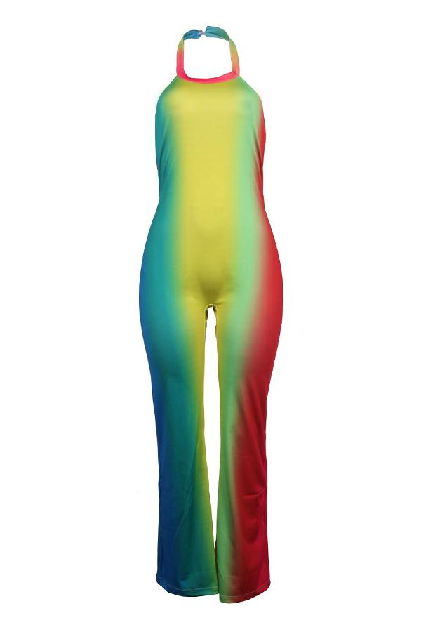 PansyGal Trendy Color-lump Multicolor Jumpsuit
