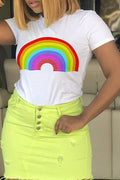 PansyGal  Casual O Neck Rainbow Printed T-shirt