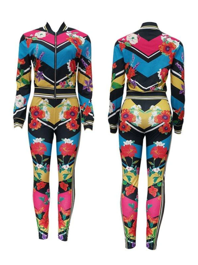 PansyGal Floral Bomber Jacket & Pants Set