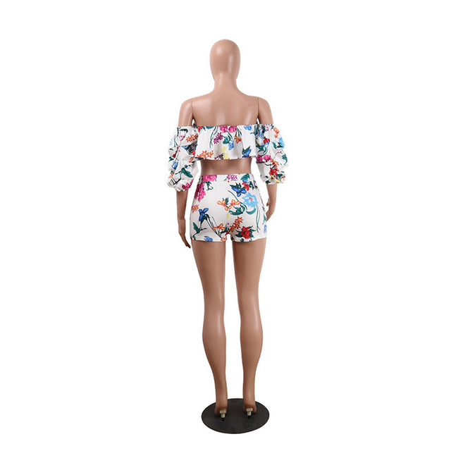 PansyGal Bohemian Bateau Neck Floral Printed Flounce White Polyester Two-piece Shorts Set
