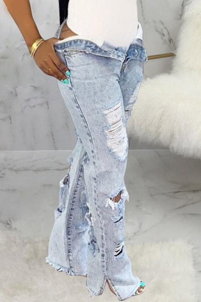 PansyGal Hole Distressed Denim Slit Jeans
