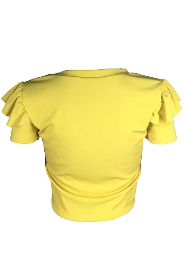 PansyGal Leisure Letter Printed Yellow T-shirt