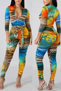 Pansygal Sexy Printed Multicolor Blending One-piece Jumpsuit