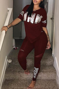 PansyGal Casual Hooded Collar Letters Printed Blending Two-Piece Pants Set
