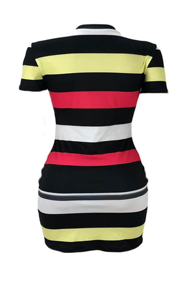 PansyGal Leisure Short Sleeve Striped Printed Mini Dress