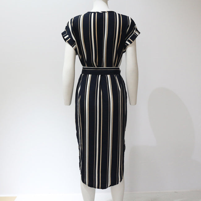 PansyGal  Casual V Neck Striped Multicolor Knee Length Dress