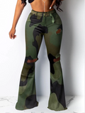 PansyGal Camouflage Print Hole Flared Pants