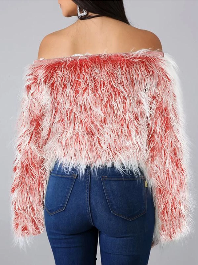 PansyGal Off Shoulder Furry Top