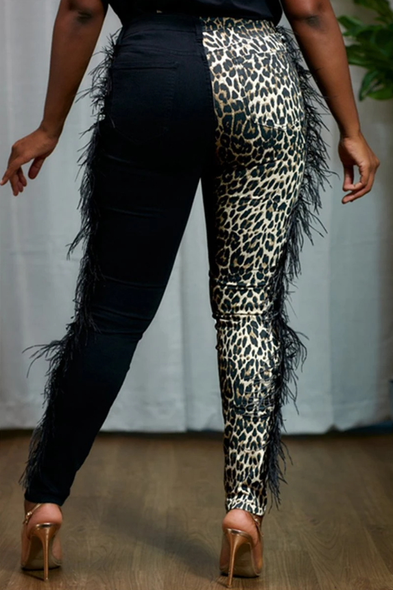 PansyGal  Feather Splicing Leopard Printed Pants