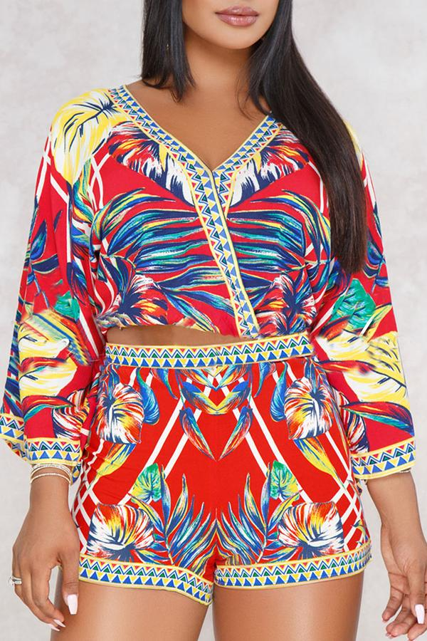 PansyGal  Bohemian Printed Two-piece Shorts Set
