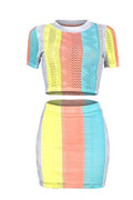 PansyGal Casual Striped Patchwork Two-piece Skirt Set