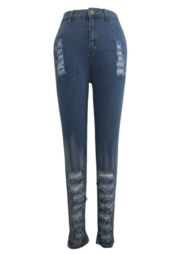 PansyGal Casual Hollow-out Blue Jeans