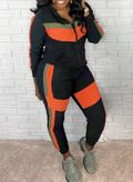 PansyGal Colorblock Zip-Front Hoodie & Pants Set