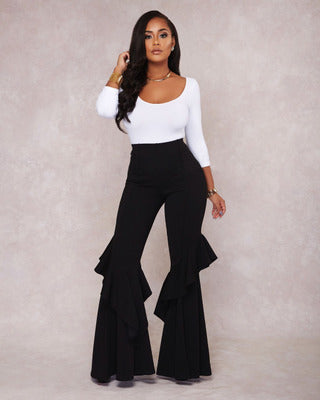PansyGal Stylish High Waist Ruffle Patchwork Pants