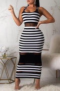 PansyGal Chic Striped See-through Mid Calf Dress