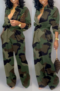 PansyGal Camouflage Turndown Collar Jumpsuit With Belt