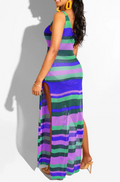 PansyGal COLOR STRIPED CUTOUT SLEEVELESS DRESS