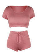 PansyGal Casual Hooded Collar Two-piece Shorts Set