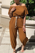 PansyGal SOLID COLOR OFF SHOULDER JUMPSUIT(WITH BELT)