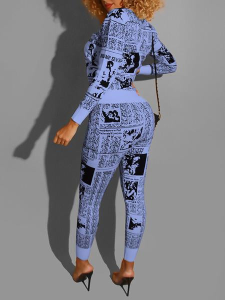 PansyGal Pocket Digital Print Two Piece Outfits