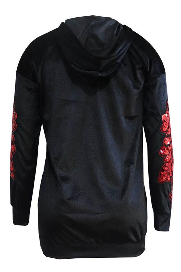 PansyGal Casual Sequined Decorative b Velvet Hoodies